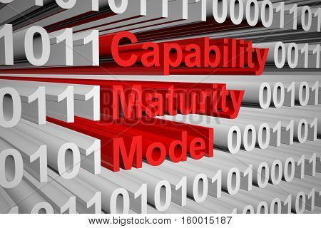 Capability Maturity Model in the form of binary code, 3D illustration