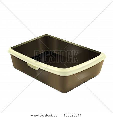 Cat litter box. Empty plastic catbox. Isolated litter tray. Pet supplies for pet shop. Vector EPS10 realistic illustration.