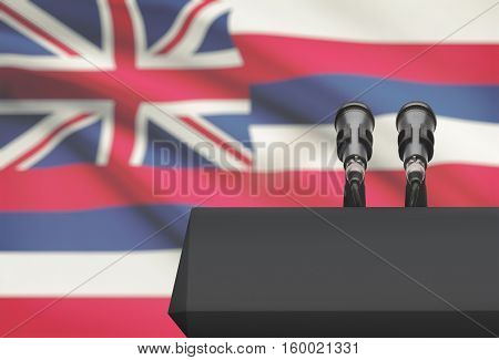 Pulpit And Two Microphones With Usa State Flag On Background - Hawaii