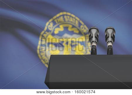 Pulpit And Two Microphones With Usa State Flag On Background - Nebraska