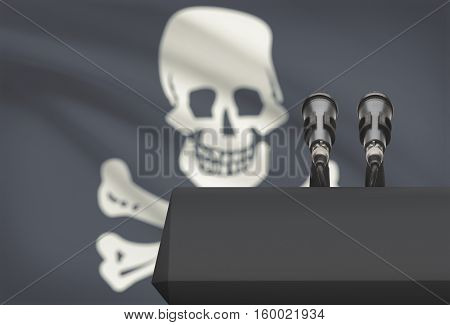 Pulpit And Two Microphones With Flag On Background - Jolly Roger - Symbol Of Piracy