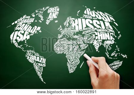 World Map in Typography word cloud concept names of countries business concept on blackboard