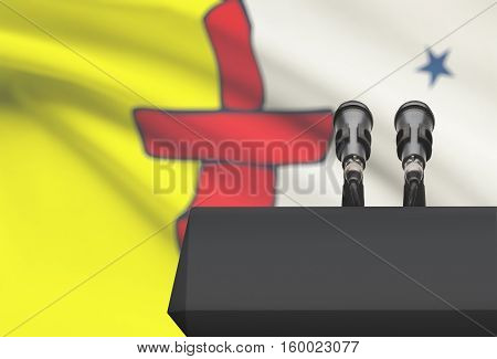 Pulpit And Two Microphones With Canadian Province Flag On Background - Nunavut