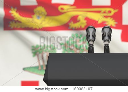 Pulpit And Two Microphones With Canadian Province Flag On Background - Prince Edward Island