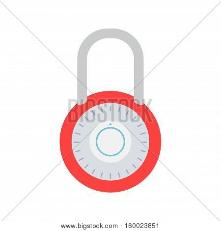 Combination lock vector icon isolated from the background. Concept Security symbol security privacy. Closed padlock with a dial in a flat style. The sign for a password or code.