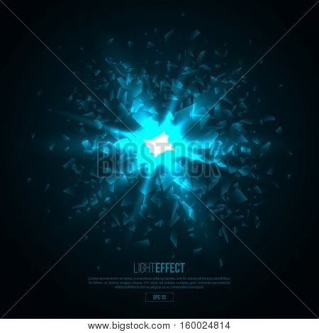3D illuminated abstract explosion glowing particles. Neon blast technology concept background. Vector illustration.