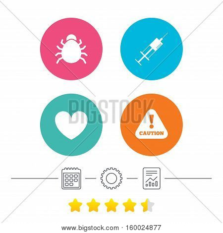 Bug and vaccine syringe injection icons. Heart and caution with exclamation sign symbols. Calendar, cogwheel and report linear icons. Star vote ranking. Vector