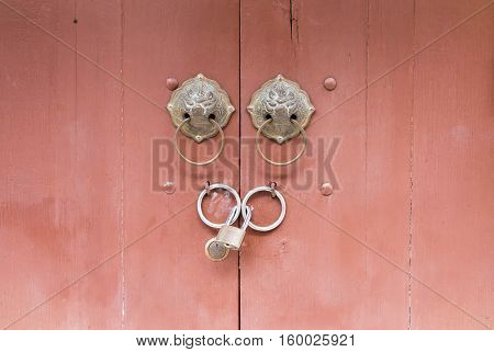 Door with Lock and door knocker chinese style architecture