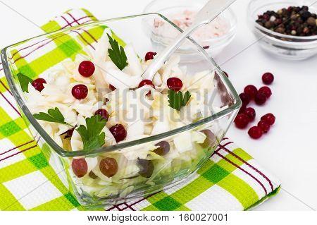 Sauerkraut with cranberries on a white background. Studio Photo