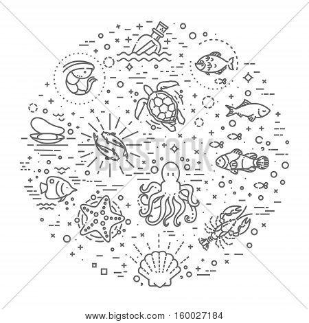 cartoon set of marine life objects and symbols