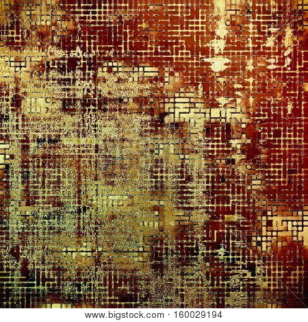 Elegant vintage background, grunge design template. Ancient texture with different color patterns: yellow (beige); brown; red (orange); black