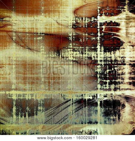 Old style decorative composition or designed vintage template with textured grunge elements and different color patterns: yellow (beige); brown; gray; red (orange); black; cyan