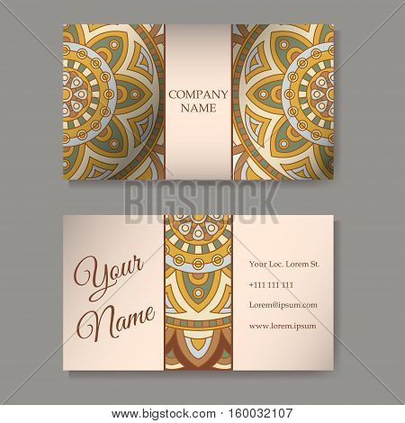 Business cards collection. Ornament for your design with lace mandala. Vector background. Indian Arabic Islam motifs.
