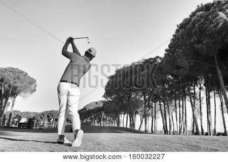 golf player hitting shot with club on course at beautiful morning black and white