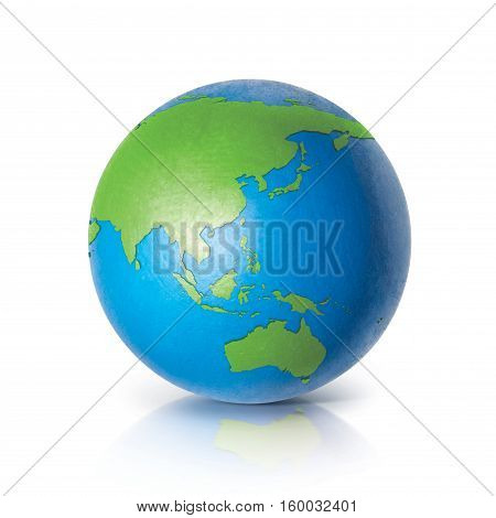 Color globe 3D illustration North and South America map on white background
