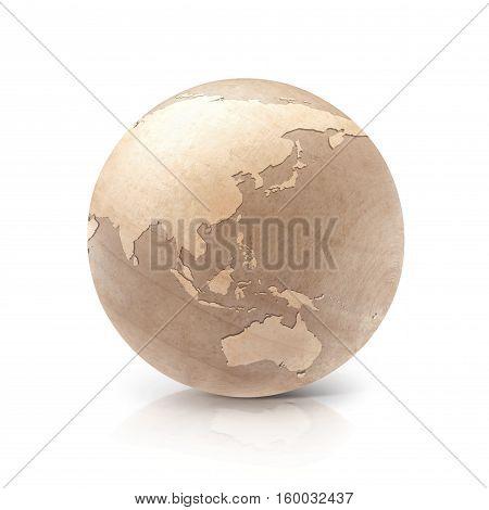 Wood globe 3D illustration Asia & Australia map on white background