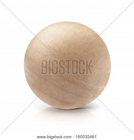 Wood ball 3D illustration on white background