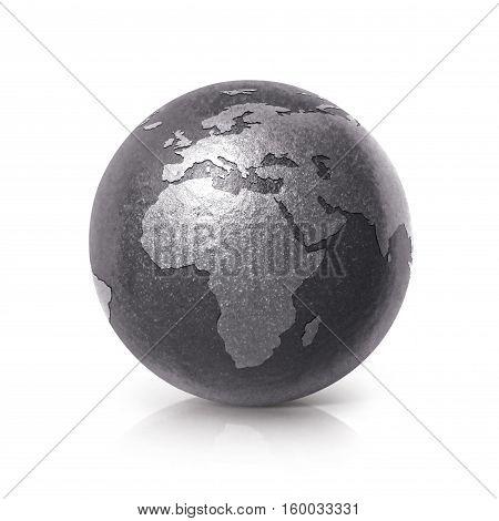 Black iron globe 3D illustration europe and africa map on white background