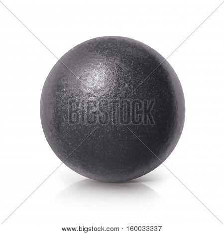 Black iron ball 3D illustration on white background