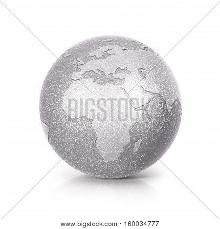 Silver Glitter globe 3D illustration europe and africa map on white background