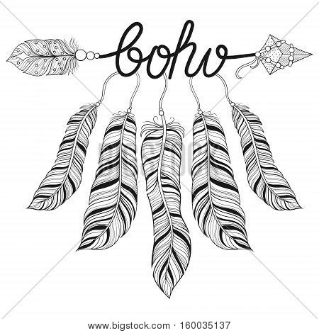 Boho chic ethnic Arrow with feathers, freedom concept. Hand drawn American native style, zentangle illustration for adult coloring pages, art therapy, ethnic t-shirt tribal print. Henna tattoo design.
