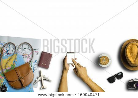 Concept Of Hipster Travel Traveler Travelling And Shopping On White Table Background.copy Space