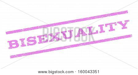 Bisexuality watermark stamp. Text caption between parallel lines with grunge design style. Rubber seal stamp with dirty texture. Vector violet color ink imprint on a white background.