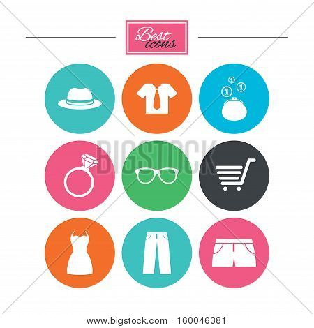 Clothes, accessories icons. Shirt, glasses and hat signs. Wallet with cash coins symbols. Colorful flat buttons with icons. Vector