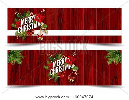 Merry Christmas web banners emplate. Design for your holiday invitation with pine branches, christmas flowers, jingle bells and mistletoe or holly berry on wooden background. Vector Illustration.