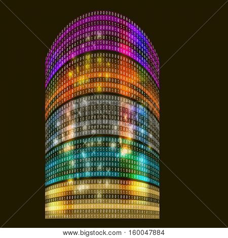 Futuristic colored skyscrapers with abstract binary code