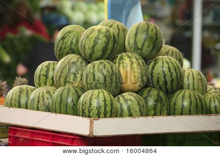 watermelon heap on open market