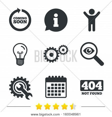 Coming soon rotate arrow icon. Repair service tool and gear symbols. Wrench sign. 404 Not found. Information, light bulb and calendar icons. Investigate magnifier. Vector