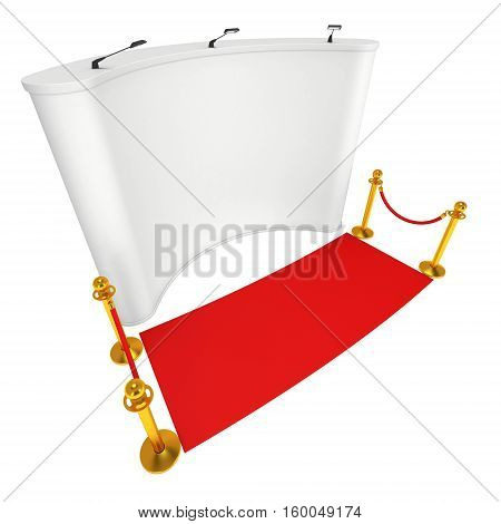 Trade show booth white and blank with silver rope barrier and red carpet. 3d render illustration isolated on white background. High Resolution Template for your design.