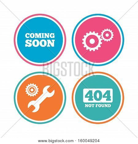 Coming soon icon. Repair service tool and gear symbols. Wrench sign. 404 Not found. Colored circle buttons. Vector