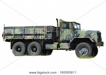 Big old Army truck isolated on a white background