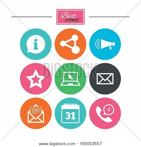 Communication icons. Contact, mail signs. E-mail, information speech bubble and calendar symbols. Colorful flat buttons with icons. Vector