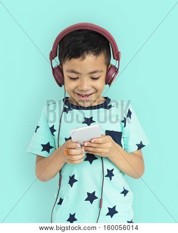 Boy Headphone Son Kid Enjoy Concept
