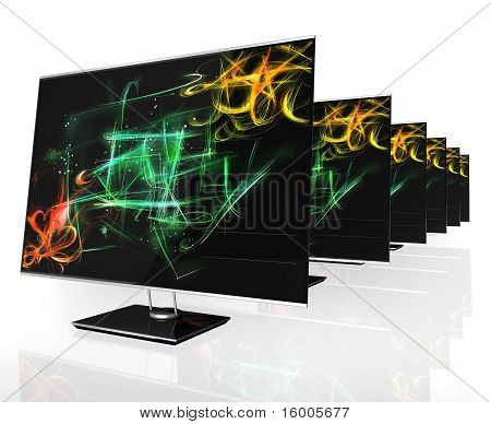 Led Tv In Raw With Colored Background