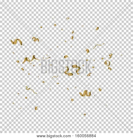 Falling golden tiny confetti pieces on transparent background. Vector Illustration.