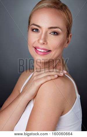 middle aged woman with perfect skin, health and beauty