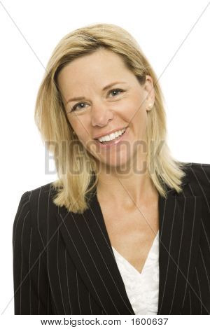 Blonde Businesswoman Smiles