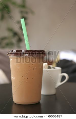ice coffee with cappuccino on black table