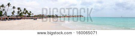 Panorama from Druif beach on Aruba island in the Caribbean Sea
