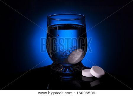 Aspirin Glass Water Blue Tablet