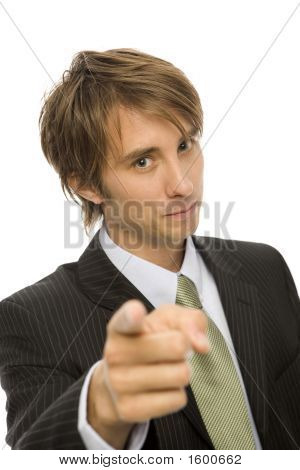 Businessman Gestures With Finger