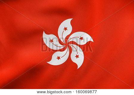 Flag Of Hong Kong Waving, Real Fabric Texture