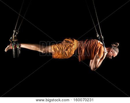 Man in a new type of gymnastics