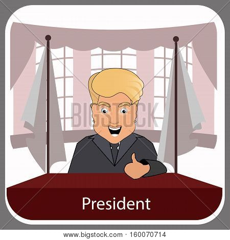 donald trump president smile victory finger up elections of 2016. Presidential chair. Fight success. Vector illustration. Round oval presidential room.
