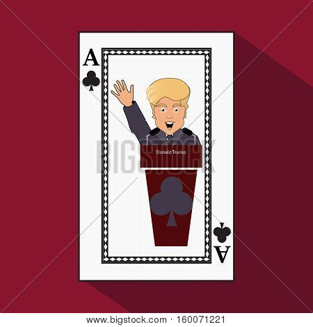 To give to Donald Trump an interview a tribune to speak in the microphone propaganda a hand up. Card club ace. vector illustration eps 10. On light it is easy to separate a background.