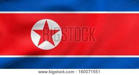 Flag Of North Korea Waving, Real Fabric Texture